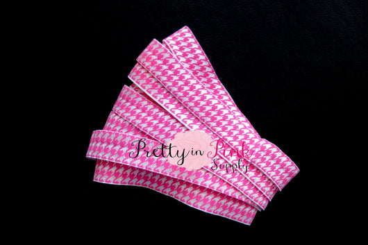Hot Pink HoundsTooth Print Elastic - Pretty in Pink Supply