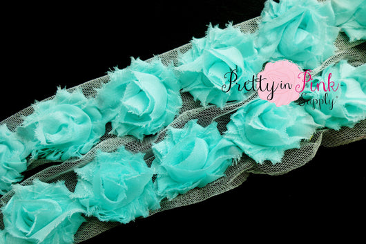 Petite Light Aqua Blue Shabby Rose Trim - Pretty in Pink Supply