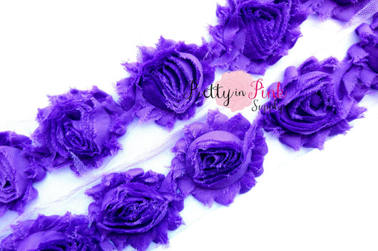 Purple Grape Shabby Rose Trim - Pretty in Pink Supply