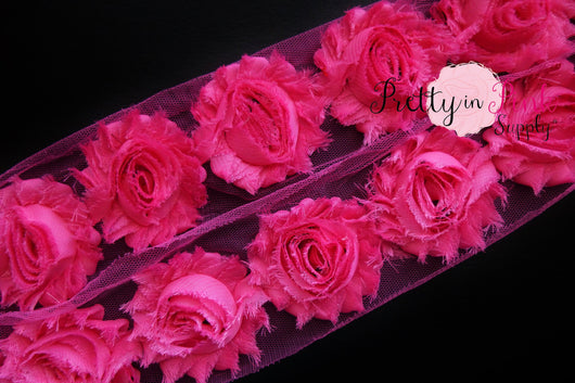 Hot Pink Shabby Rose Trim - Pretty in Pink Supply