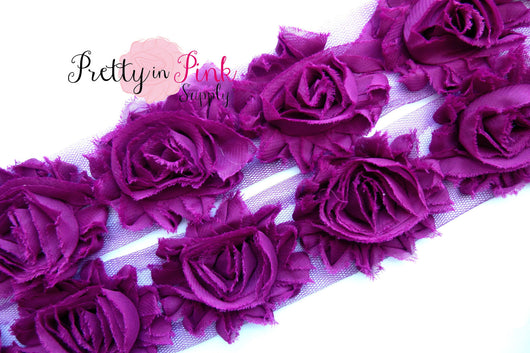 Plum Shabby Rose Trim - Pretty in Pink Supply