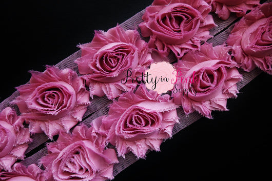 Dusty Rose Mauve Shabby Rose Trim - Pretty in Pink Supply