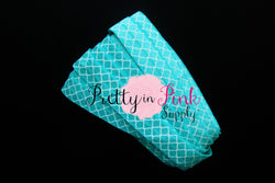 Aqua Lattice Print Elastic - Pretty in Pink Supply