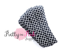 Black White Lattice Elastic - Pretty in Pink Supply