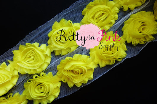 Bright Yellow Shabby Rose Trim - Pretty in Pink Supply
