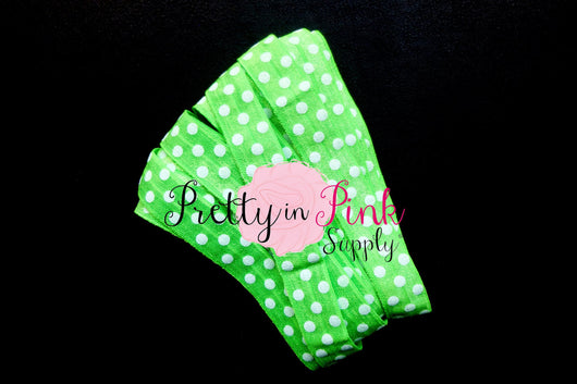 Green with White Dot Print Elastic - Pretty in Pink Supply