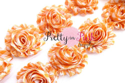 Orange Plaid Print Shabby Rose Trim - Pretty in Pink Supply