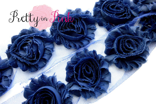 Navy Blue Shabby Rose Trim - Pretty in Pink Supply