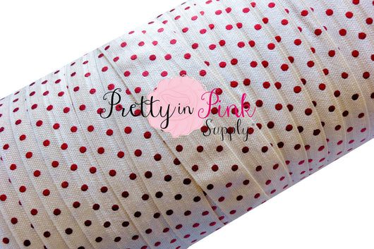 Ivory with Red Metallic Dot Elastic - Pretty in Pink Supply