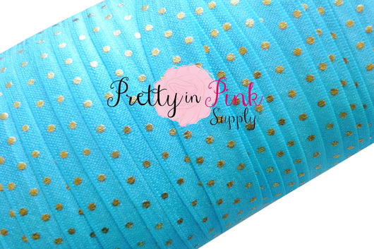 Bright Blue with Gold Metallic Dot Elastic - Pretty in Pink Supply