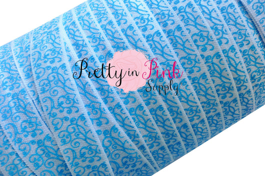 Blue Swirl Print Elastic - Pretty in Pink Supply