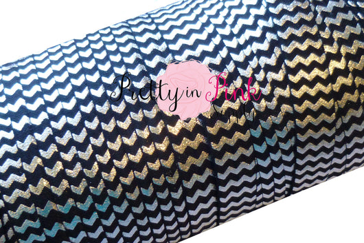Black with Silver Metallic Chevron Foil Print Elastic - Pretty in Pink Supply