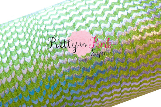 Lime with Silver Metallic Chevron  Elastic - Pretty in Pink Supply