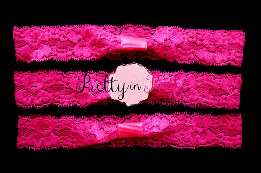 Hot Pink Lace Elastic Headband - Pretty in Pink Supply