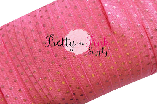 Hot Pink with Pink Metallic Dot Elastic - Pretty in Pink Supply