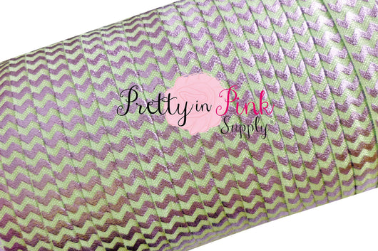 Mint with Lavender Chevron Metallic Elastic - Pretty in Pink Supply