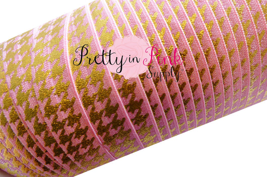 Pink with Gold Metallic HoundsTooth Print Elastic - Pretty in Pink Supply