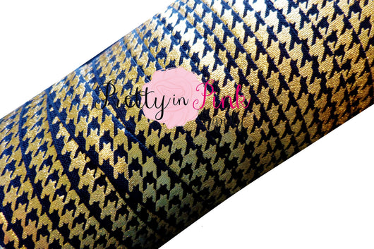 Black with Gold Metallic Hounds Tooth Elastic - Pretty in Pink Supply