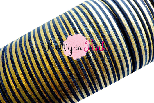Black with Gold Metallic Stripes Elastic - Pretty in Pink Supply