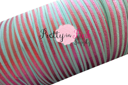 Aqua with Pink Metallic Stripes Print  Elastic - Pretty in Pink Supply