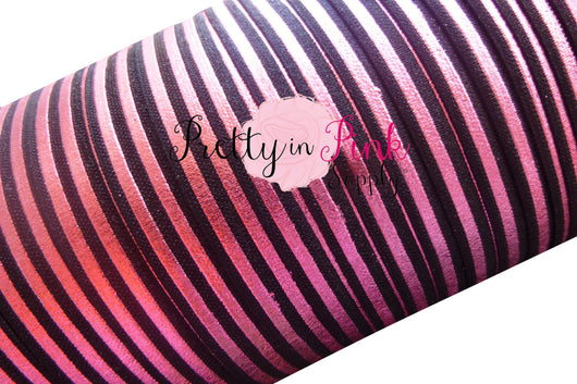 Black with Pink Metallic Stripes Elastic - Pretty in Pink Supply