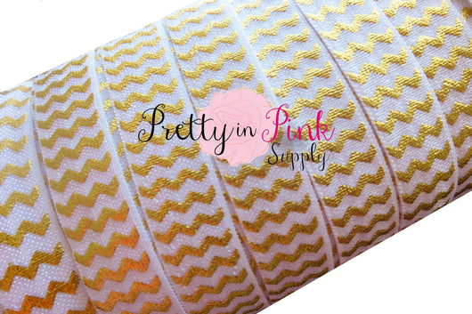 White with Gold Metallic Chevron  Elastic - Pretty in Pink Supply