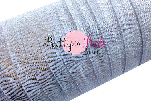 White with Silver Metallic Zebra Stripes Print Elastic - Pretty in Pink Supply
