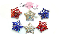 4th of July Star Rhinestone Buttons - Pretty in Pink Supply