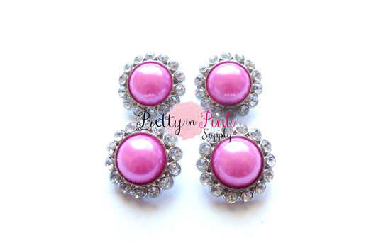 Pink Rhinestone Pearl Button - Pretty in Pink Supply