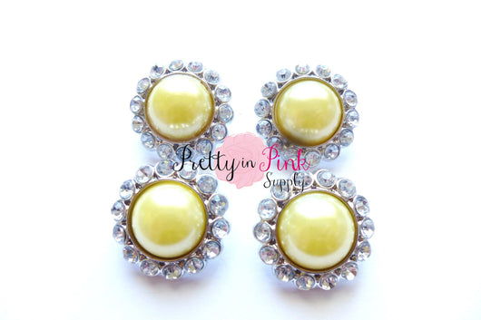 Yellow Rhinestone Pearl Button - Pretty in Pink Supply