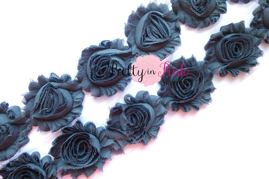 Charcoal Shabby Rose Trim - Pretty in Pink Supply