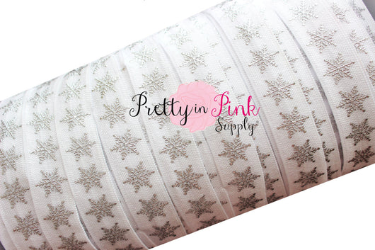 White with Silver Metallic Snowflake Print Elastic - Pretty in Pink Supply