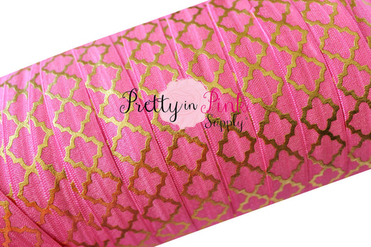 Barbie Pink with Gold Metallic Quatrefoil Foil Print Elastic - Pretty in Pink Supply