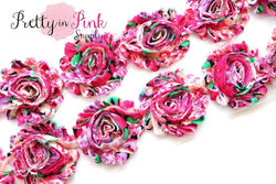 DESTASH SALE- Hot Pink Paradise Shabby Rose Trim
