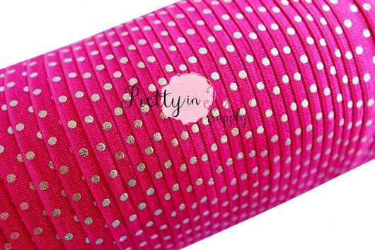 Hot Pink Silver Metallic Dot Elastic - Pretty in Pink Supply