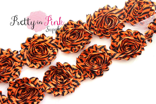 Black and Orange Thin Stripe Shabby Rose Trim - Pretty in Pink Supply