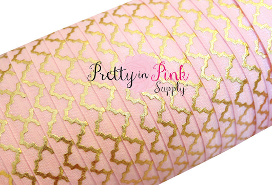 Light Pink Gold Quatrefoil Metallic Print Elastic - Pretty in Pink Supply