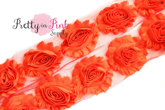 Blood Orange Shabby Rose Trim - Pretty in Pink Supply