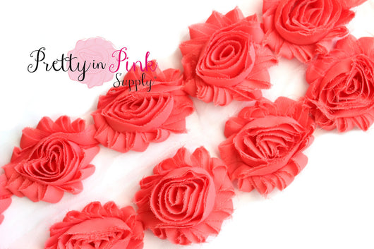 Dark Coral Shabby Rose Trim - Pretty in Pink Supply