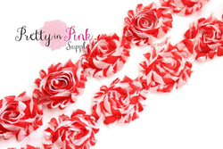 Red White Thick Stripe Shabby Rose Trim - Pretty in Pink Supply