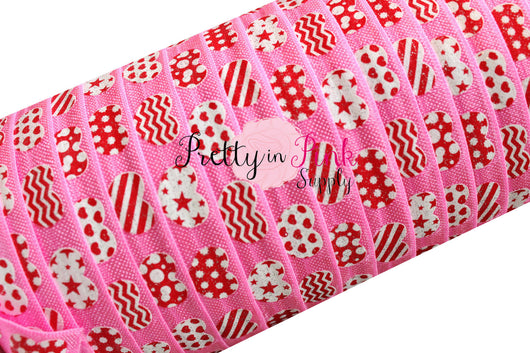 Pink with Patterned Hearts Print Elastic - Pretty in Pink Supply