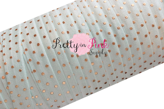 White Gold Metallic Dot Elastic - Pretty in Pink Supply