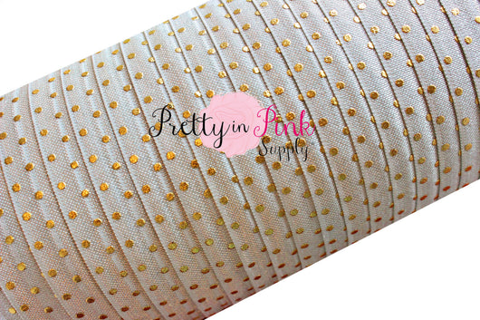 Gray Gold Metallic Dot Elastic - Pretty in Pink Supply