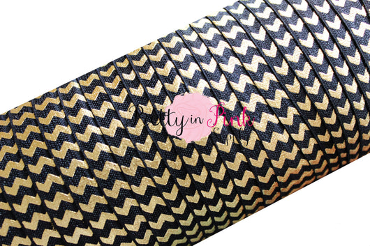 Black with Gold Metallic Chevron Foil Print Elastic - Pretty in Pink Supply