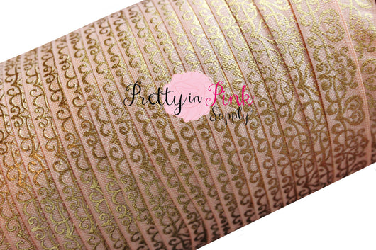 Peach Pink Gold Metallic Whimsical Hearts Print Elastic - Pretty in Pink Supply