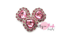 Pink Heart Acrylic Rhinestone Button - Pretty in Pink Supply