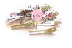Double Prong Metal Clips - Pretty in Pink Supply