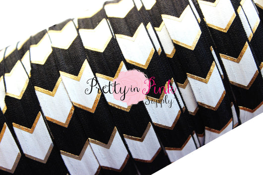 Black, White and Gold Wide Chevron Metallic Print Elastic - Pretty in Pink Supply