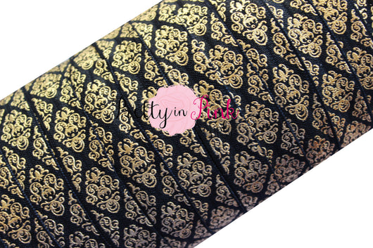 Black and Gold Metallic Damask Print Elastic - Pretty in Pink Supply