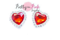 Red Rhinestone Heart Valentines Day Button - Pretty in Pink Supply